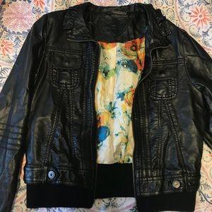 Vegan leather motorcycle jacket